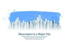 Modern mall för design för stadsvektorlogo konstruktion, byggnad eller arkitektursymbol Arkivfoton