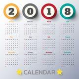 Modern mall för kalender 2018 vektor/illustration Fotografering för Bildbyråer
