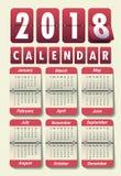 Modern mall för kalender 2018 vektor/illustration Royaltyfri Bild