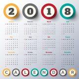 Modern mall för kalender 2018 vektor/illustration Arkivbild