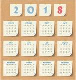 Modern mall för kalender 2018 vektor/illustration Arkivbilder