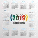 Modern mall för kalender 2018 vektor/illustration Royaltyfri Foto