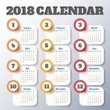Modern mall för kalender 2018 vektor/illustration Royaltyfri Fotografi