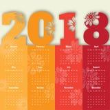 Modern mall för kalender 2018 vektor/illustration Royaltyfria Foton