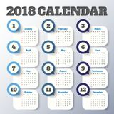 Modern mall för kalender 2018 vektor/illustration Arkivfoto