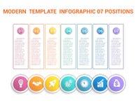 Modern mall för Timeline som är infographic för moment för affär 7, proce Arkivfoto