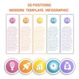 Modern mall för Timeline som är infographic för moment för affär 5, proce Fotografering för Bildbyråer