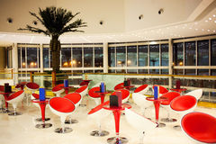 Modern mall food court. At night stock photos