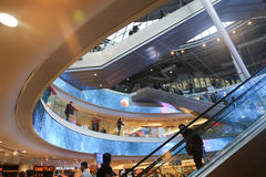 Modern mall in Paris. Apr 16, 2015 Interior of shopping mall Four Seasons near Arche de la Defense, Paris. It has many retail shops as well as cafes and Stock Photography