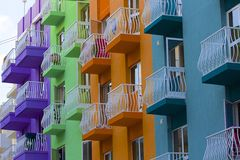 Modern Maltese buildings and balconies. Modern Balconies in Buggibba, Malta Royalty Free Stock Photo