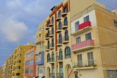 Modern Maltese buildings and balconies Stock Photos