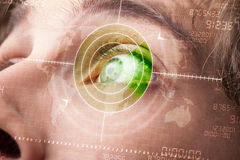 Modern man with cyber technology target military eye Royalty Free Stock Image