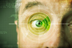 Modern man with cyber technology target military eye. Concept Stock Image