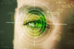 Modern man with cyber technology target military eye Royalty Free Stock Photography