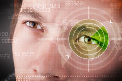 Modern man with cyber technology target military eye Royalty Free Stock Photo