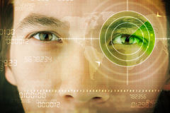 Modern man with cyber technology target military eye. Concept Stock Photos