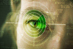 Modern man with cyber technology target military eye. Concept Royalty Free Stock Photo