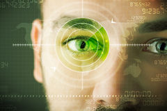 Modern man with cyber technology target military eye Royalty Free Stock Photos