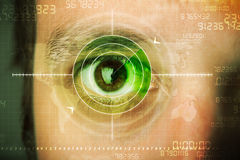 Modern man with cyber technology target military eye Stock Images
