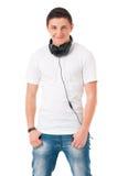 Modern man with headphones Stock Photo