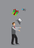 Modern Man Juggling Consumer Products Vector Illustration Stock Photography
