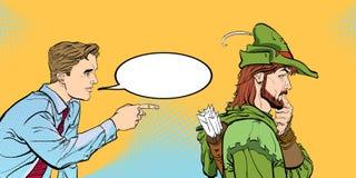 Modern man och Robin Hood Affärsman och medeltida legender En dialog för man` s Män som diskuterar något Talande manar royaltyfri illustrationer