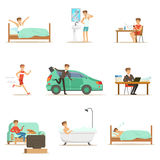 Modern Man Daily Routine From Morning To Evening Series Of Cartoon Illustrations With Happy Character Royalty Free Stock Photography