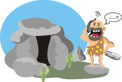 Modern man in a stone age Stock Photo