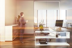 Modern manager office, corporate life, businessman royalty free stock photos