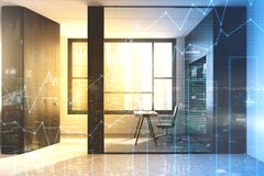 Glass wall manager s office. Modern manager s office with a white table, a bookcase and a large window. Graphs. 3d rendering toned image double exposure Stock Image
