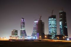 Modern Manama, Bahrain at night Royalty Free Stock Photo