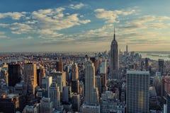 Modern Manhattan skyline in New York City. Stunning view across New York City Royalty Free Stock Photos
