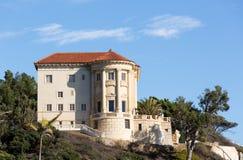 Modern mansion in Malibu california. Modern italianate mansion overlooks pacific ocean in Malibu California stock photo