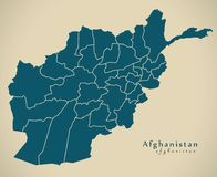 Modern Map - Afghanistan with provinces AF. Illustration Royalty Free Stock Photos