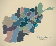Modern Map - Afghanistan with provinces political AF. Illustration Stock Photo