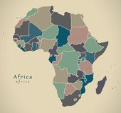 Modern Map - Africa continent with countries political colored. Illustration vector illustration