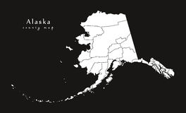 Modern Map - Alaska black county map USA illustration Stock Photography