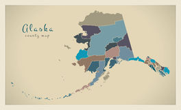 Modern Map - Alaska county map coloured states USA illustration Stock Photography