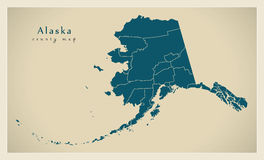 Modern Map - Alaska county map USA illustration Royalty Free Stock Photos