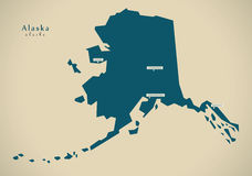 Modern Map - Alaska USA illustration Stock Photos
