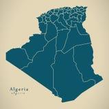 Modern Map - Algeria with provinces DZ. Illustration Royalty Free Stock Photo