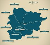 Modern Map - Andorra with cities AD Vector Illustration