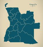 Modern Map - Angola with provinces AO. Illustration Royalty Free Stock Image