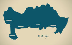 Modern Map - Blekinge Sweden SE Stock Photos