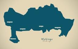 Modern Map - Blekinge Sweden SE Stock Photos