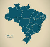 Modern Map - Brasil with districts BR Brazil Royalty Free Stock Photography