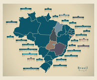 Modern Map - Brazil with district details  BR. Modern Map - Brazil with district detailed text descriptions of every state BR Stock Images