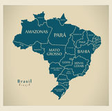 Modern Map - Brazil with districts and labels BR Royalty Free Stock Photos