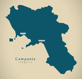 Modern Map - Campania IT Italy Stock Image