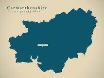 Modern Map - Carmarthenshire Wales UK Stock Photos